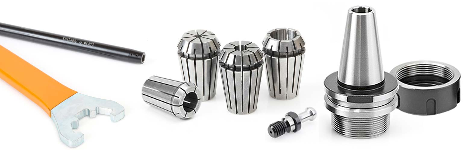 High Precision Spring Collets, Extensions, Adapters Holders and Retaining Studs for CNC Machines