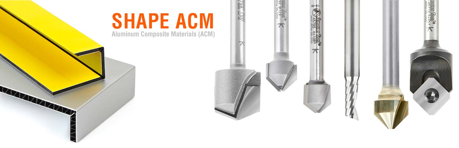 Double Edge Folding V-Groove Router Bit Set for Aluminum Composite Material (ACM)
