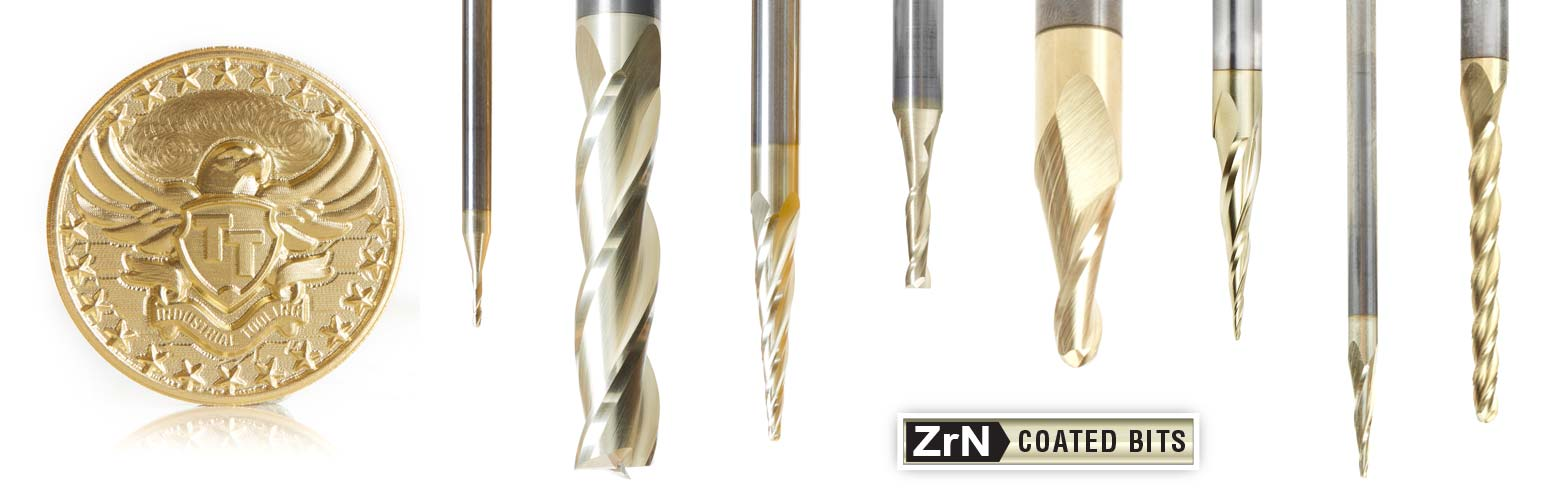 Solid Carbide 2D and 3D Carving Ball Nose, ZrN Coated, CNC Router Bit Sets