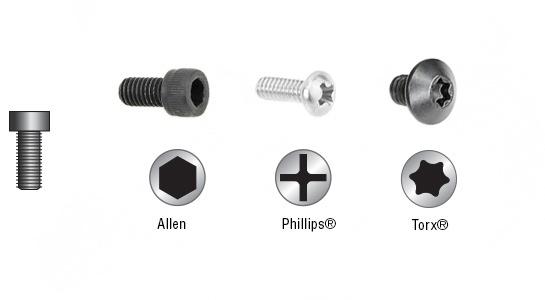 Socket Head Allen Type Torx And Phillips Retaining Screws