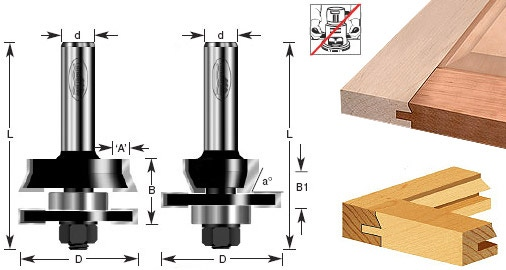 2 Piece Shaker Stile Rail Router Bit Set 58 78 Material