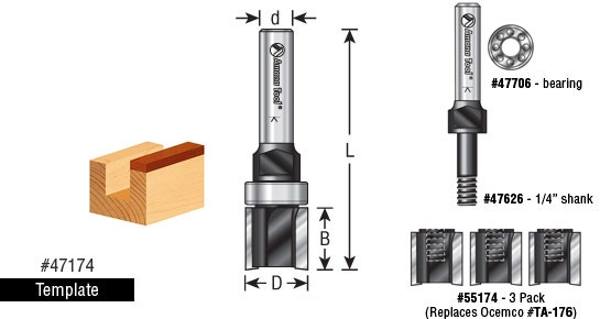 EZ-Change Replaceable Cutter Router Bit System - Template (Assembly ...