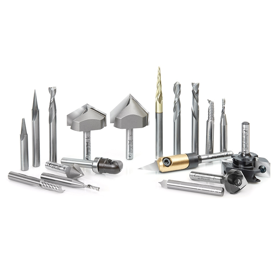18-pc cnc signmaking advanced router bit collection 1  4 shank