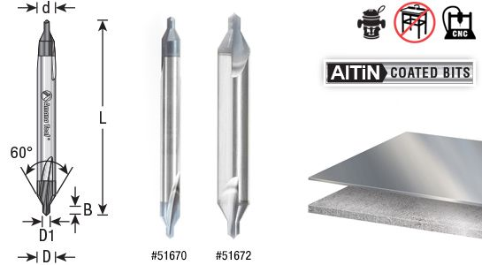 {U308} 60° INCLUDED ANGLE 1 NEW USA #00 SOLID CARBIDE CENTER DRILL