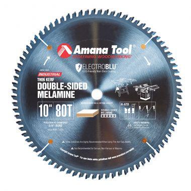 Amana Tool MSB1080C Electro-Blu Coated Carbide Tipped Prestige Double-Face Melamine 10 Inch D x 80T H-ATB, -2 Deg, 5/8 Bore, Non-Stick Circular Saw Blade