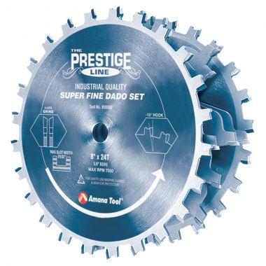 Amana Tool 658060C Electro-Blu Coated Carbide Tipped Prestige Dado 8 Inch D x 24T H- ATB, 5/8 Inch Bore, Complete Dado Set