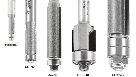 Flush Trim Router Bits - Single Flute, 2 Flute & Extra Long 2 Flute w/ Lower Ball Bearing