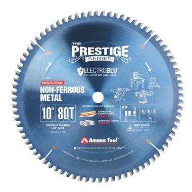 Amana Tool 510801C Electro-Blu Carbide Tipped Prestige Aluminum and Non-Ferrous Metals 10 Inch D x 80T TCG, -6 Deg, 5/8 Bore, Non-Stick Coated Circular Saw Blade