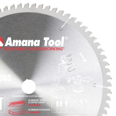 Amana Tool 512721 Carbide Tipped Aluminum and Non-Ferrous Metals 12 Inch D x 72T TCG, -6 Deg, 1 Inch Bore, Circular Saw Blade
