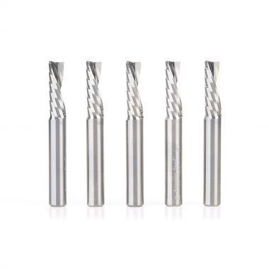 Amana Tool 51504-5, 5-Pack SC Spiral O Single Flute, Plastic Cutting 1/4 D x 3/4 CH x 1/4 SHK x 2 Inch Long Down-Cut CNC Router Bits with Mirror Finish