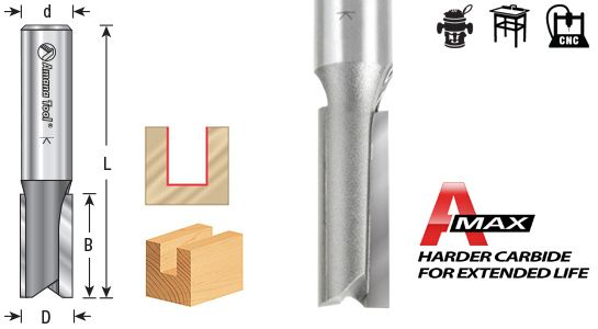 Straight Plunge Cutting Router Bits 1/2 Shank x 2 Flute - High Production