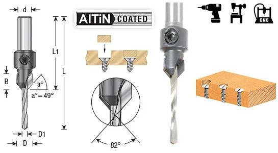 High Performance 82 Degree Carbide Tipped Countersinks with AlTiN Coating, Round Shank