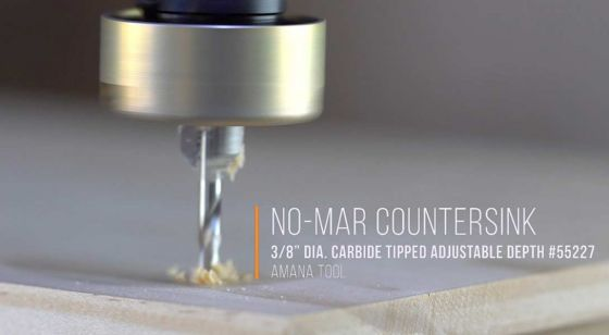 Carbide-Tipped 82 Degree Countersink with No Burning and Marring Adjustable Free Spinning, Low Friction Depth-Stop with No-Thrust Ball Bearing