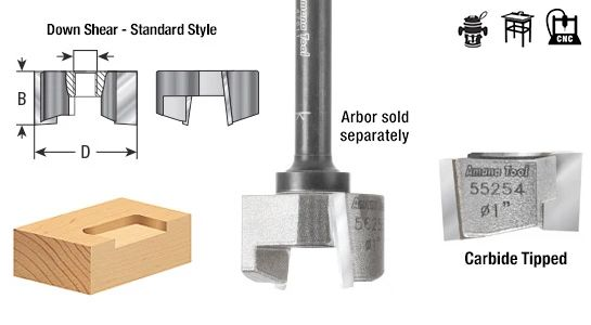 Mortising Router Bits - Screw Type - Cutter Only 1/4 - 28 and 5/16 - 24 Thread