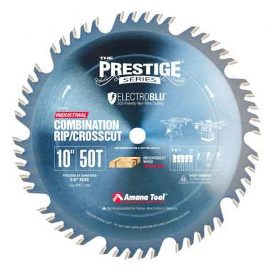 Amana Tool 610504C Electro-Blu Carbide Tipped Prestige Combination Ripping and Crosscut 10 Inch D x 50T 4+1, 15 Deg, 5/8 Bore, Non-Stick Coated Circular Saw Blade