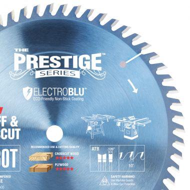Amana Tool 610600C Electro-Blu Carbide Tipped Prestige Cut-Off and Crosscut 10 Inch D x 60T ATB, 10 Deg, 5/8 Bore, Non-Stick Coated Circular Saw Blade