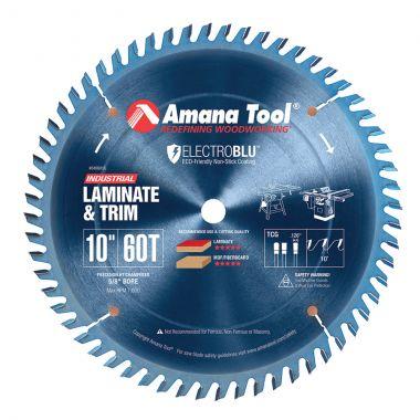 Amana Tool 610601C Electro-Blu Carbide Tipped Prestige General Purpose 10 Inch D x 60T TCG, 10 Deg, 5/8 Bore, Non-Stick Coated Circular Saw Blade