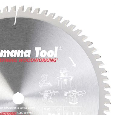 Amana Tool 610721 Carbide Tipped Solid Surface 10 Inch D x 72T M-TCG, 0 Deg, 5/8 Bore, Circular Saw Blade