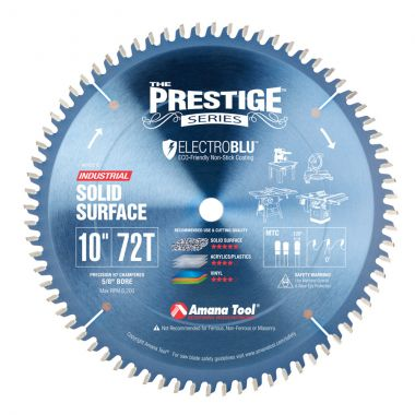 Amana Tool 610721C Electro-Blu Carbide Tipped Prestige Solid Surface 10 Inch D x 72T M-TCG, 0 Deg, 5/8 Bore, Non-Stick Coated Circular Saw Blade