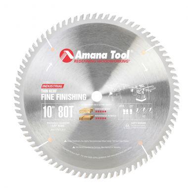 Amana Tool 610800-TS Carbide Tipped Thin Kerf Miter 10 Inch D x 80T ATB, 10 Deg, 5/8 Bore, Circular Saw Blade