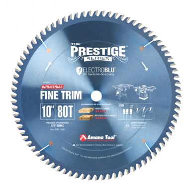 Amana Tool 610800C Electro Blu Carbide Tipped Trim 10 Inch D x 80T ATB, 10 Deg, 5/8 Bore, Non-Stick Coated Circular Saw Blade