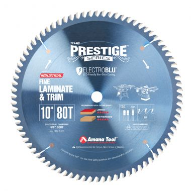 Amana Tool 610801C Electro-Blu Carbide Tipped Prestige Fine Cut-Off and Crosscut 10 Inch D x 80T TCG, 10 Deg, 5/8 Bore, Non-Stick Coated Circular Saw Blade
