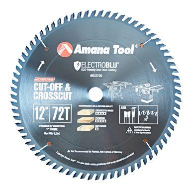 Amana Tool 612720C Electro-Blu Carbide Tipped Prestige Cut-Off and Crosscut 12 Inch D x 72T ATB, 10 Deg, 1 Inch Bore, Non-Stick Coated Circular Saw Blade