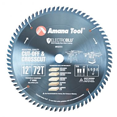 Amana Tool 612721C Electro-Blu Carbide Tipped General Purpose 12 Inch D x 72T TCG, 10 Deg, 1 Inch Bore, Non-Stick Coated Circular Saw Blade