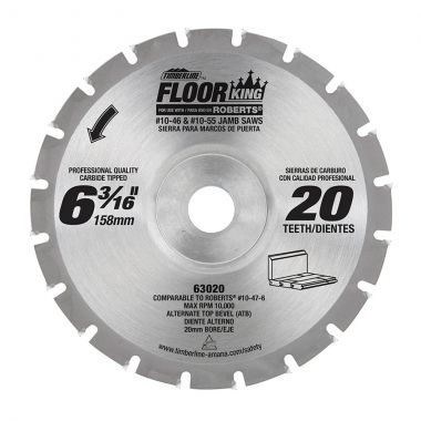 Timberline Floor King 63020 Comparable to Roberts 10-47-6, 6-3/16 Dia x 20 Teeth x 20mm Concave Bore x ATB Grind Designed for 10-46 & 10-55 Jamb/Undercut Saws (Jamby Saws), Carbide Tipped Saw Blade