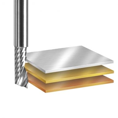 Amana Tool 51470 SC Spiral O Single Flute, Aluminum Cutting 1/16 D x 1/4 CH x 1/8 SHK x 1-1/2 Inch Long Up-Cut Router Bit with Mirror Finish