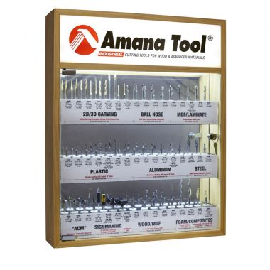Amana Tool AMS-CNC-52 CNC Master Router Bit Collection Includes 52 1/4 inch Shank SKUs and LED Illuminated, Mirrored Interior and Solid Wood Display