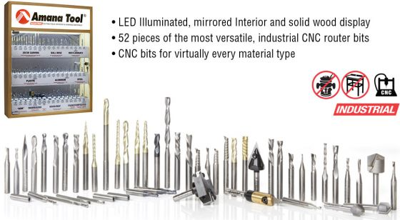 AMS-CNC-52 - Master CNC Router Bit Collection, 52-Pcs with LED Illuminated, Mirrored Interior and Solid Wood Display, 1/4 Shank