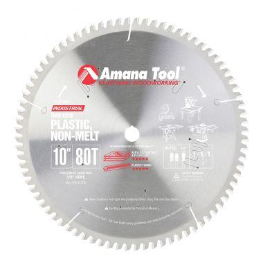 Amana Tool LB10801 Carbide Tipped Non-Melt Plastic 10 Inch D x 80T M-TCG, -2 Deg, 5/8 Bore, Circular Saw Blade