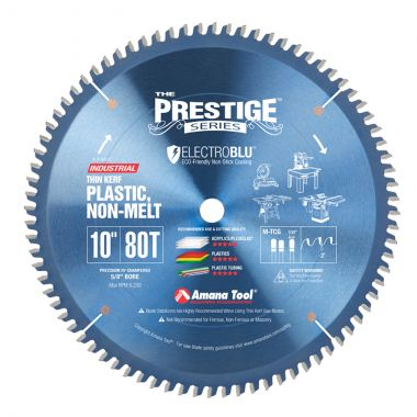 Amana Tool LB10801C Electro-Blu Carbide Tipped Non-Melt Plastic 10 Inch D x 80T M-TCG, -2 Deg, 5/8 Bore, Non-Stick Coated Circular Saw Blade