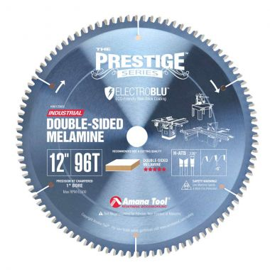 Amana Tool MB12960C Electro-Blu Carbide Tipped Prestige Double-Face Melamine 12 Inch D x 96T H-ATB, -6 Deg, 1 Inch Bore, Non-Stick Coated Circular Saw Blade