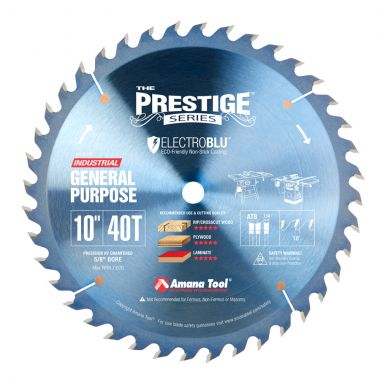 Amana Tool PR1040C Electro-Blu Carbide Tipped Prestige 10 Inch D 40T ATB, 18 Deg, 5/8 Bore, Non-Stick Coated Circular Saw Blade