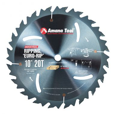 Amana Tool RB1020C Electro-Blu Carbide Tipped Euro Rip With Cooling Slots 10 Inch D x 20T FT, 18 Deg, 5/8 Bore, Non-Stick Coated Circular Saw Blade