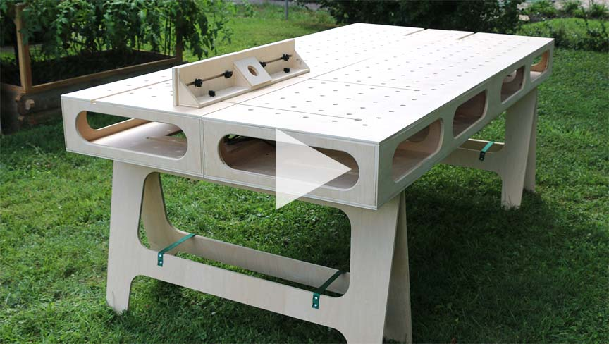Paulk Plywood Workbench Using V Groove Bits